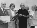 Mr. and Mrs. Emmett Barrett,  Fr. Barry Hagan, C.S.C., Martha Waschmuth, 1987