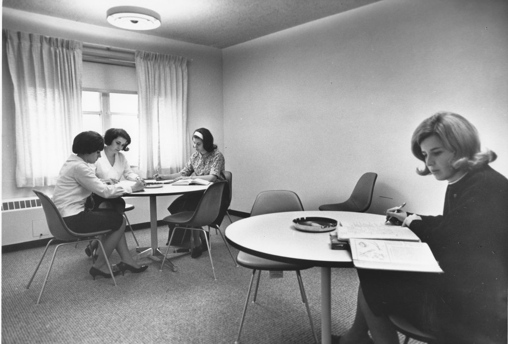 Study room in Mehling Hall, ca. 1964