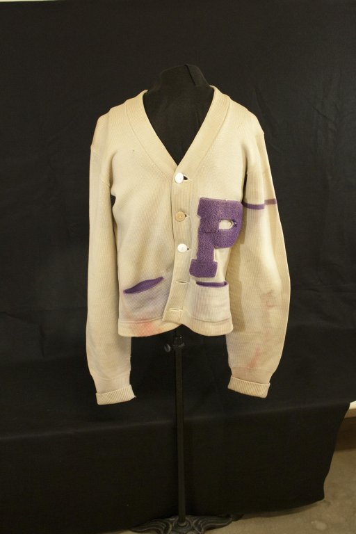 Emmett Barrett letterman sweater damaged in the Vanport Flood, 1948