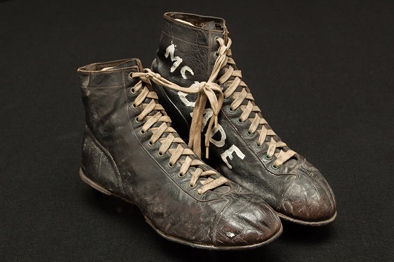 Karl McDade football shoes from the 1930s, photo by Jose Velazco