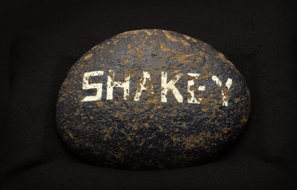 Shakey rock carried by Upsilon Omega Pi pledge, Don McCabe, 1968