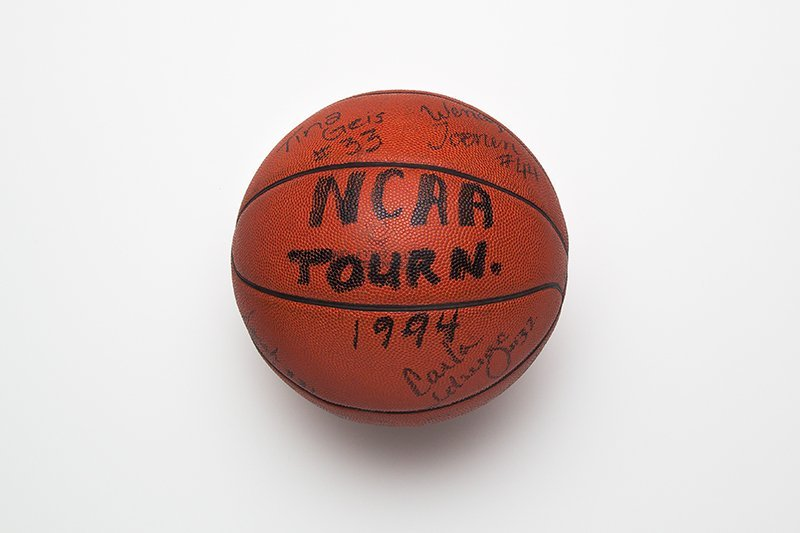 Basketball signed by University of Portland Women's basketball team after losing to University of Southern California, 77-62, in the NCAA Women's Mideast Regional Tournament, 2004