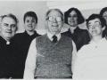 Front: Fr. Joseph Browne, C.S.C., Br. Frank Drury,  C.S.C., Barbara Lay; Back: Susan Hinken, Nadene Miller, Pam Horan, 1987