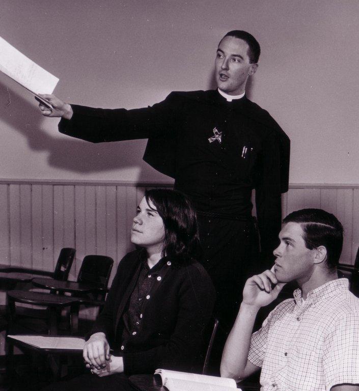 Rev. Richard Berg, C.S.C. in the Classroom, 1966