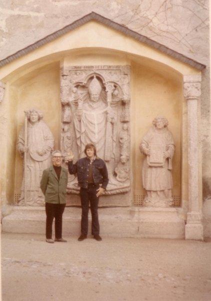 Fr. Lloyd Teske, C.S.C. with student, Salzburg, 1975