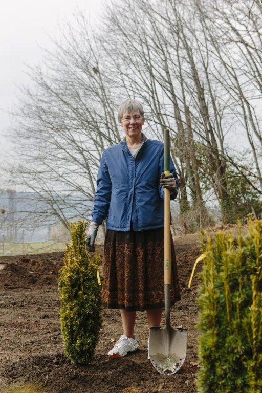 Sr. Angela Hoffman and Yew Trees, 2013