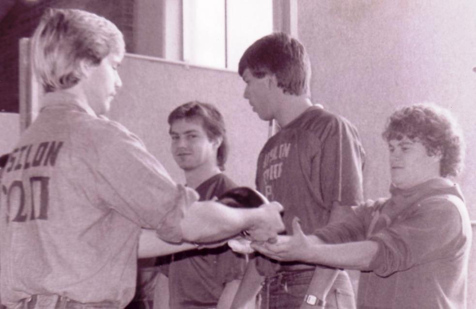 Upsilon Omega Pi pledge rock presentation, ca1980
