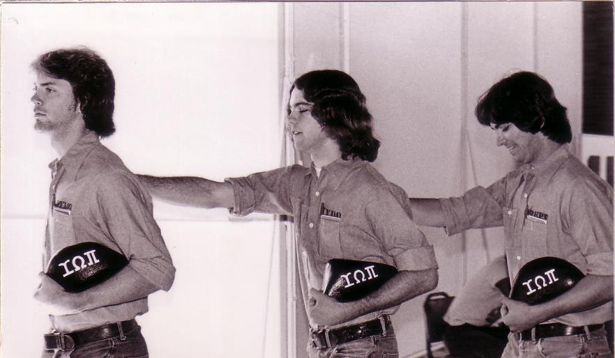 Upsilon Omega Pi pledges in line, Tom Duffy, Steve Powers, Dave Figueira, 1977