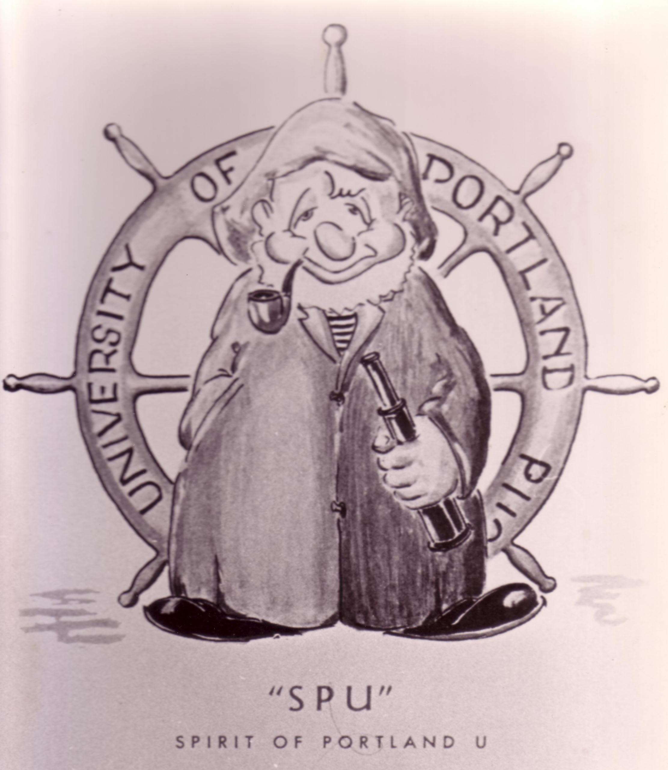 Nolan Drurey's drawing of the Sprit of Portland U, 1948