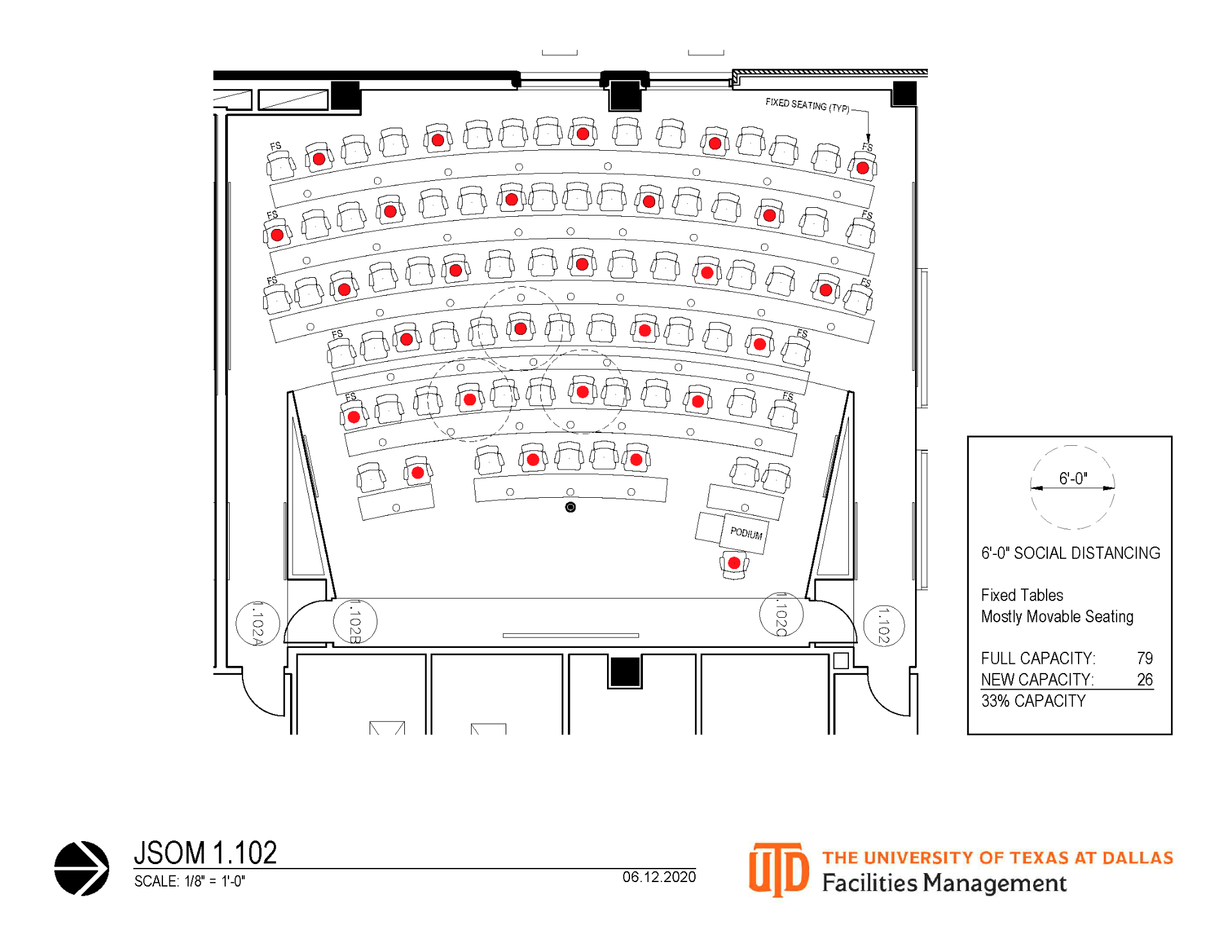 A diagram of a social distance classroom shows which seats are open for students to use during a lecture.