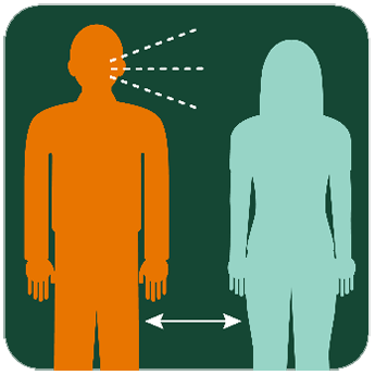 Illustration of a person close to a person who is coughing.