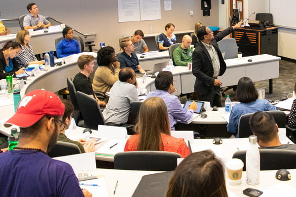 Professor Abhijit Biswas leading a class of UT Dallas MBA sutdents