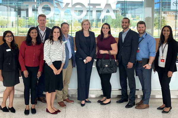 UT Dallas MBA students at a Toyota corporate MBA career path visit with the Career Management Center dean