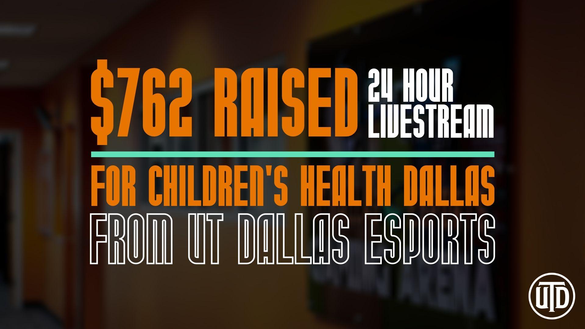 $762 Raised For Children's Health Dallas By UT Dallas Esports