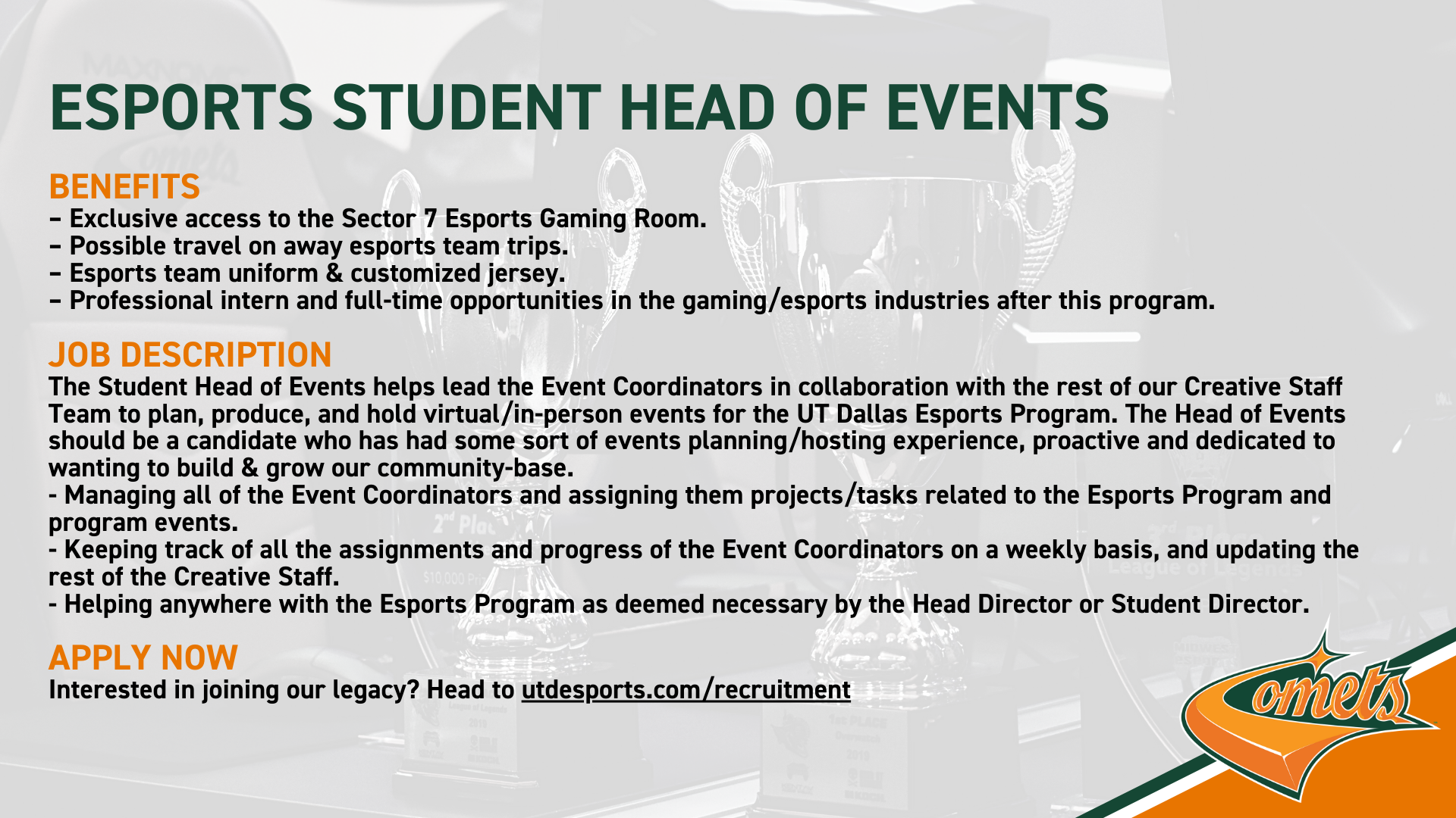 UT Dallas Esports Is Hiring A Student Head of Events