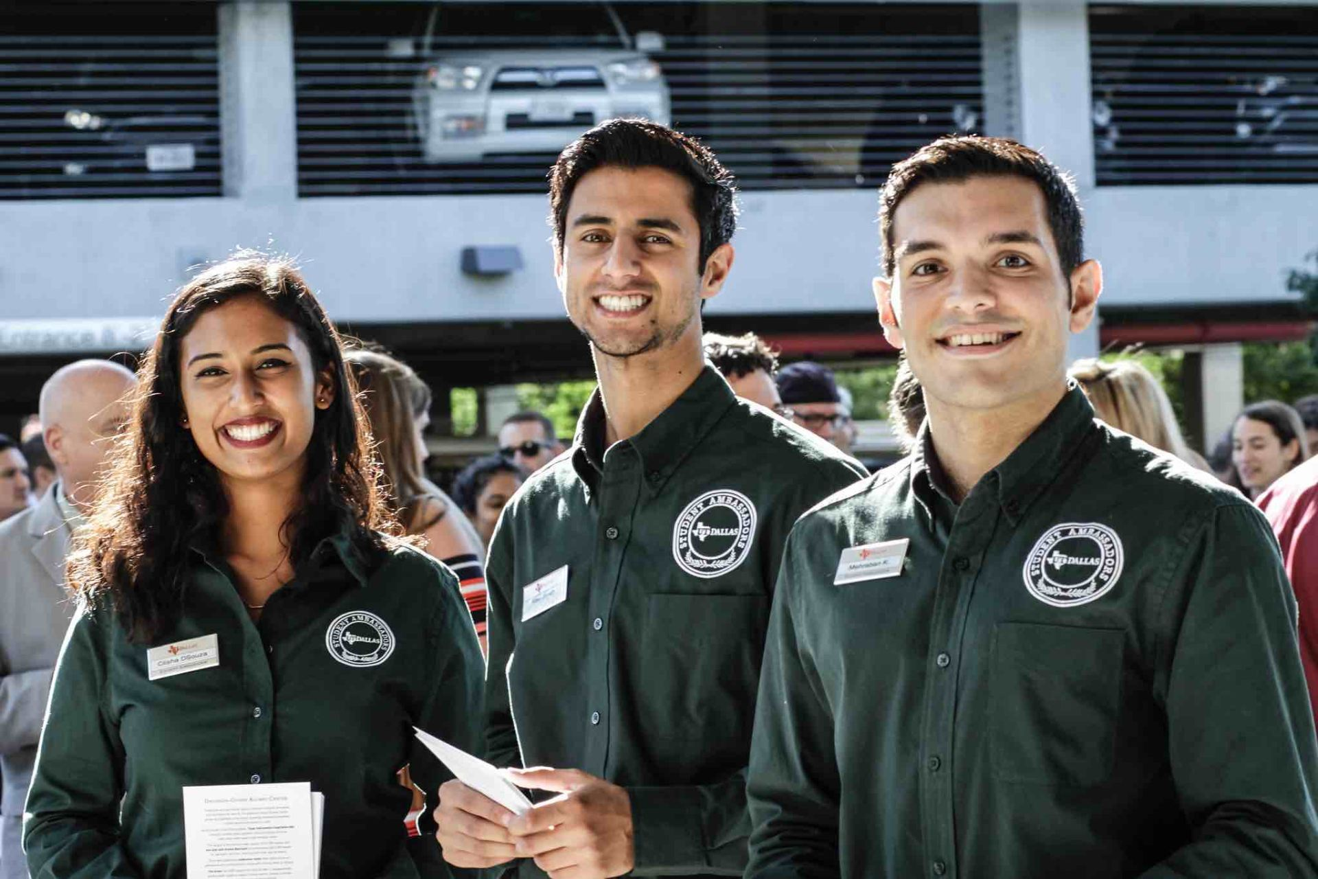 Student ambassadors at an event