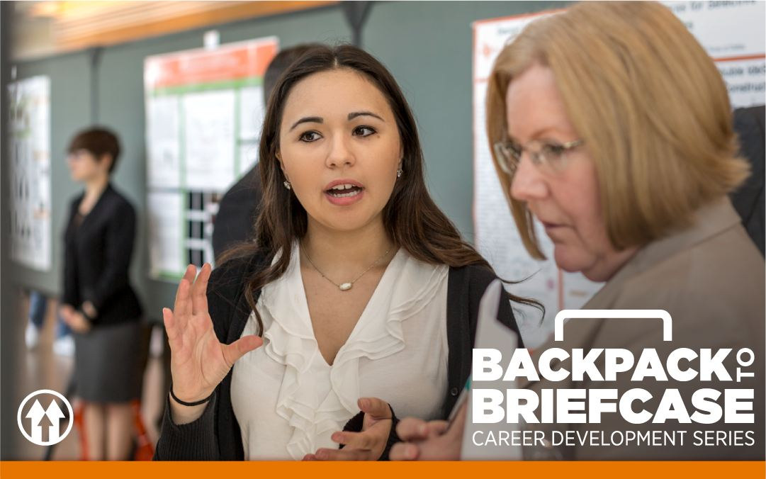 A student speaking with a professor, overlaid by the Backpack to Briefcase event logo