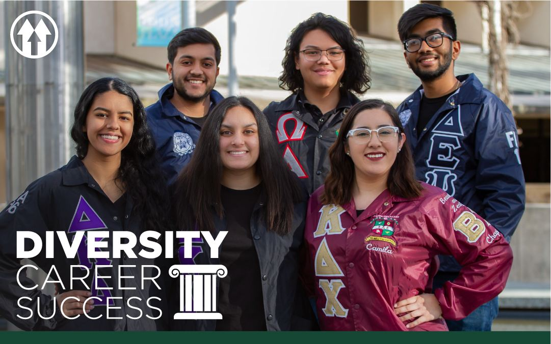 Student wearing fraternity and sorority jackets, overlaid by the Diversity Career Success event logo