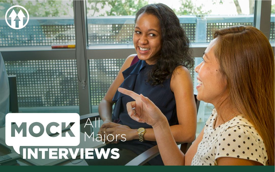 Students speaking in an interview setting, overlaid by the Mock Interviews event logo