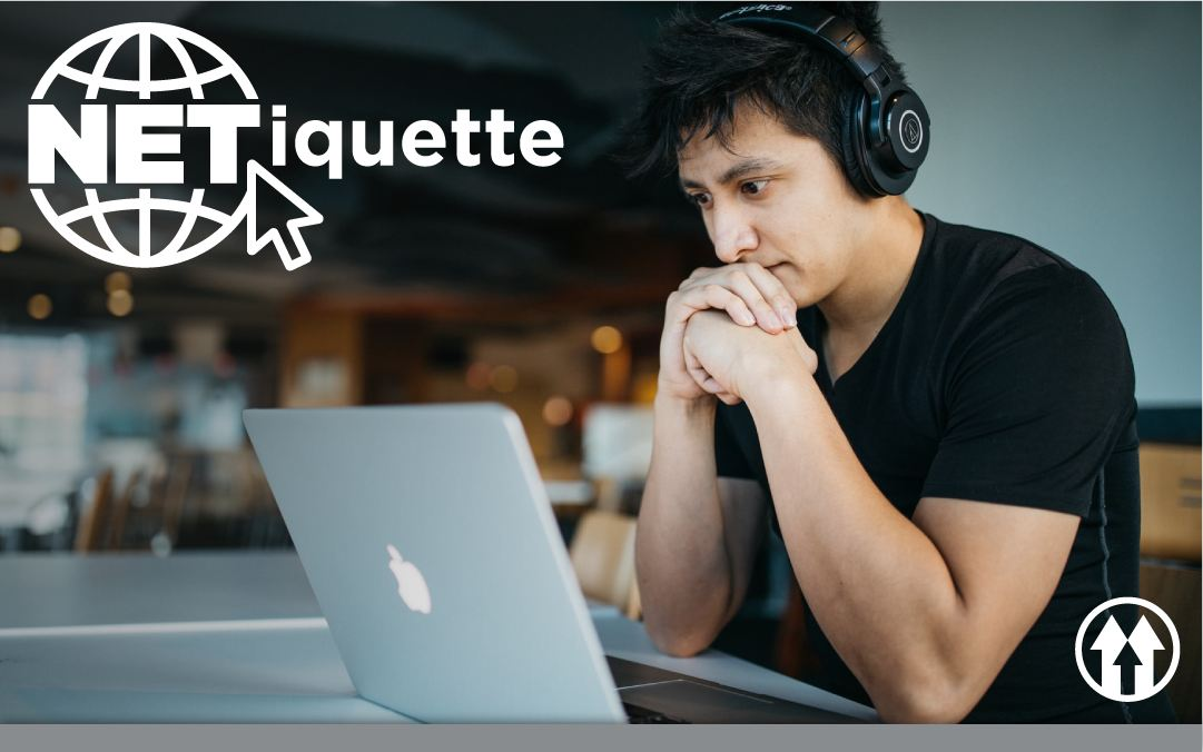 Student on a laptop, overlaid by the Netiquette event logo