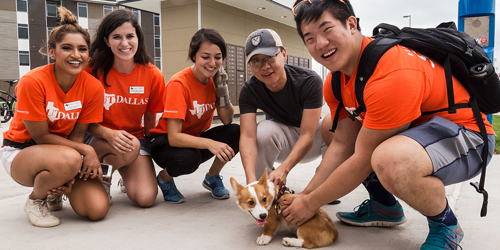 Helping students move in can be a long process. Luckily, graduate  student Yifan Li was puppy sitting Momo, a four-month-old corgi, giving staffers a welcome break.