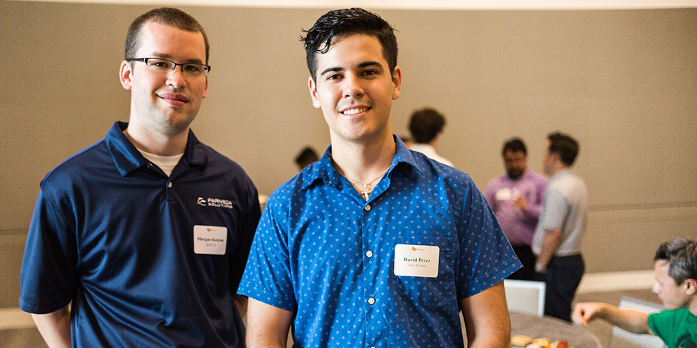 Morgan Kenyon BS'15 (left) met with incoming freshman David Perez at the Dallas summer send-off event on Aug. 7 at the Davidson-Gundy Alumni Center.