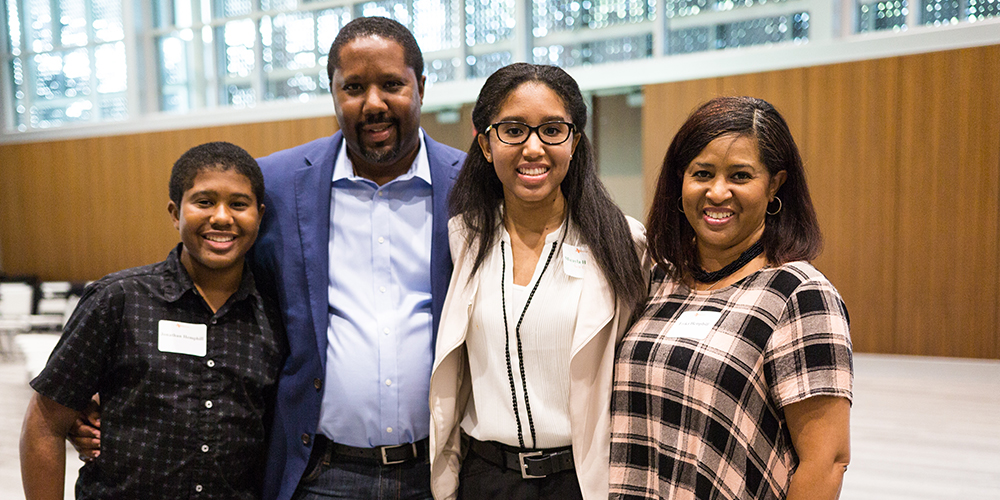 Incoming visual arts freshman Micayla Hemphill (second from right) attended the event with her family.