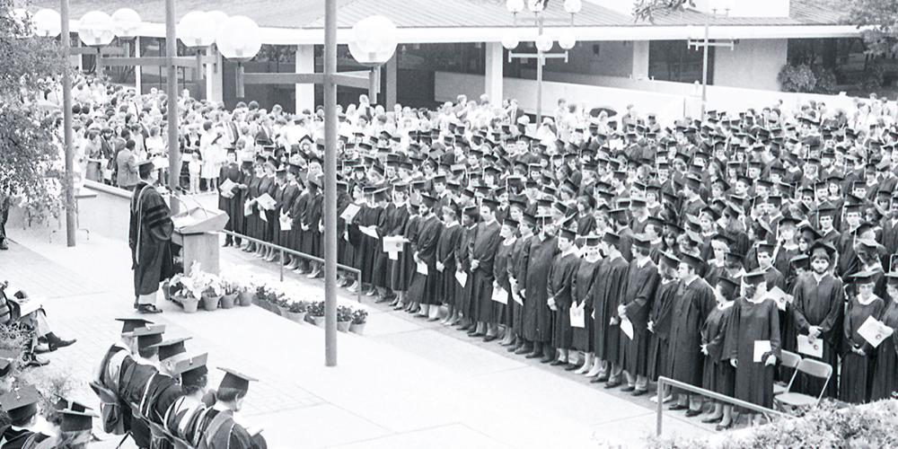 Outside graduation ceremony