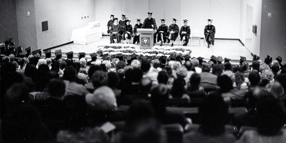 A commencement ceremony in the former Alexander Clark Center