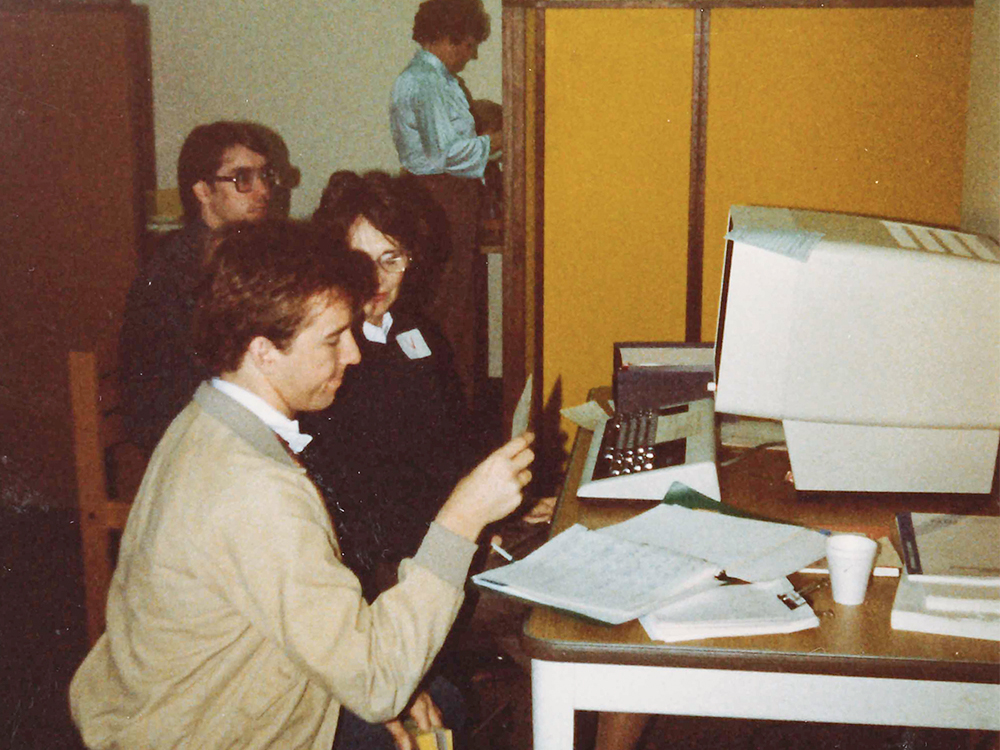 Students met with the registrar's office to digitally register for classes in December 1983