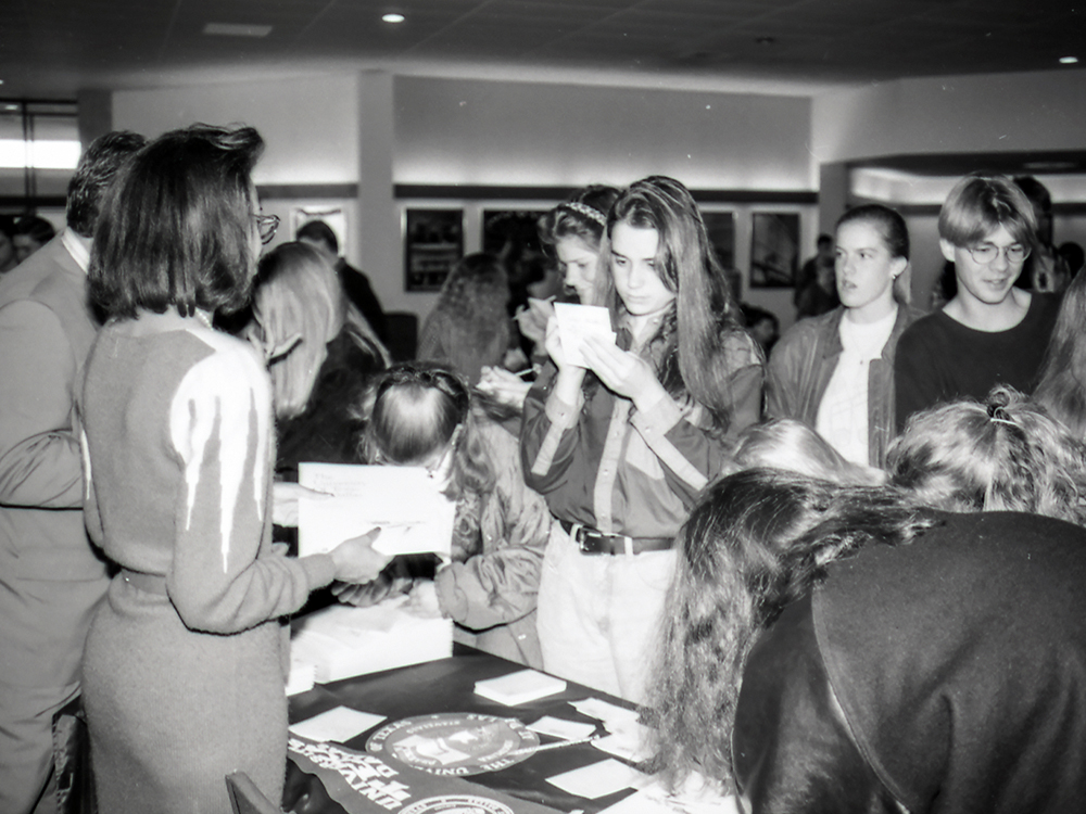 A scene from an early 1990s student registration in the Alexander Clark Center
