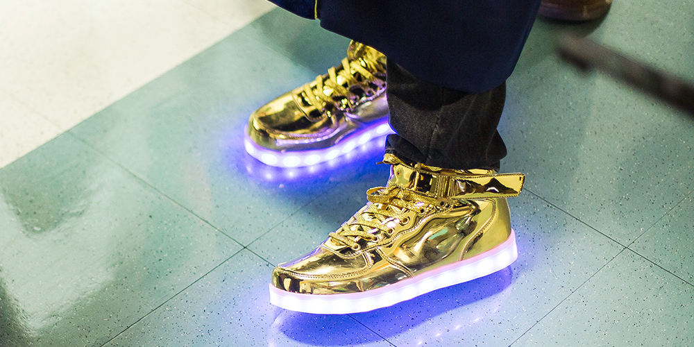 Shoes with purple-lights on soles