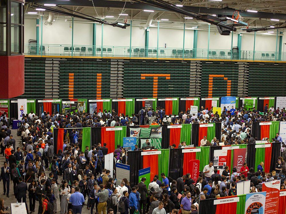 Overhead view of the fall career expo
