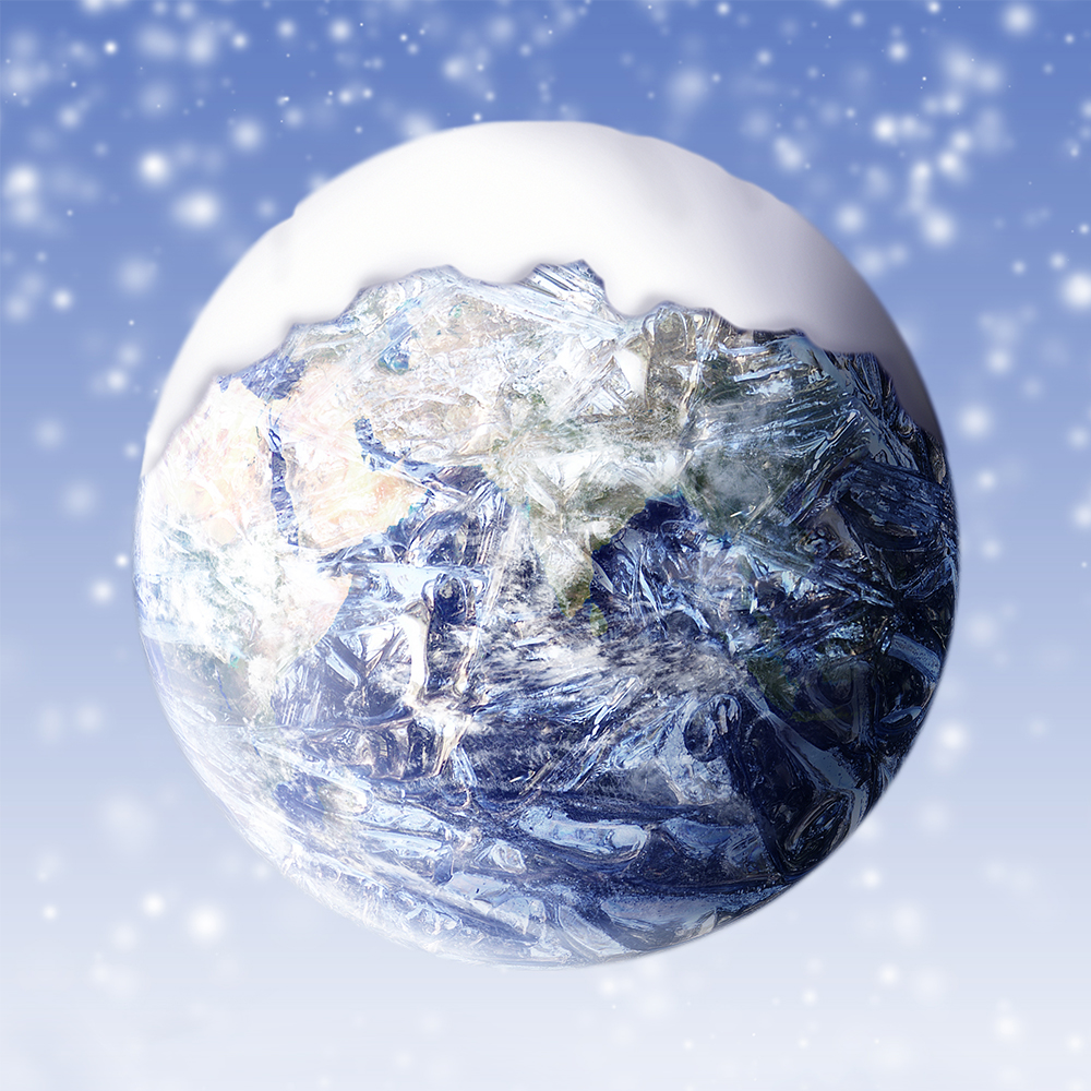 earth covered in snow
