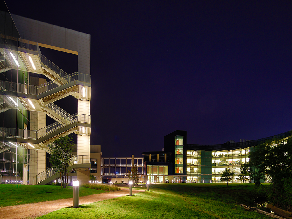 The path between the BSB and NSERL buildings lit up