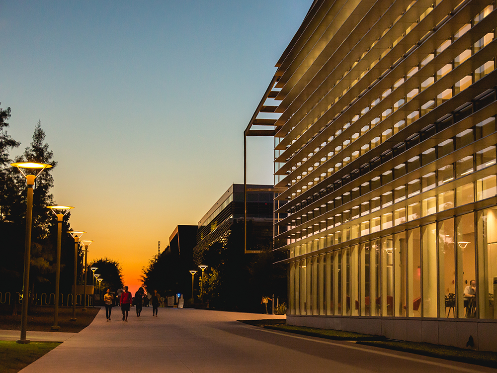 The sun set lights up the ATEC Building