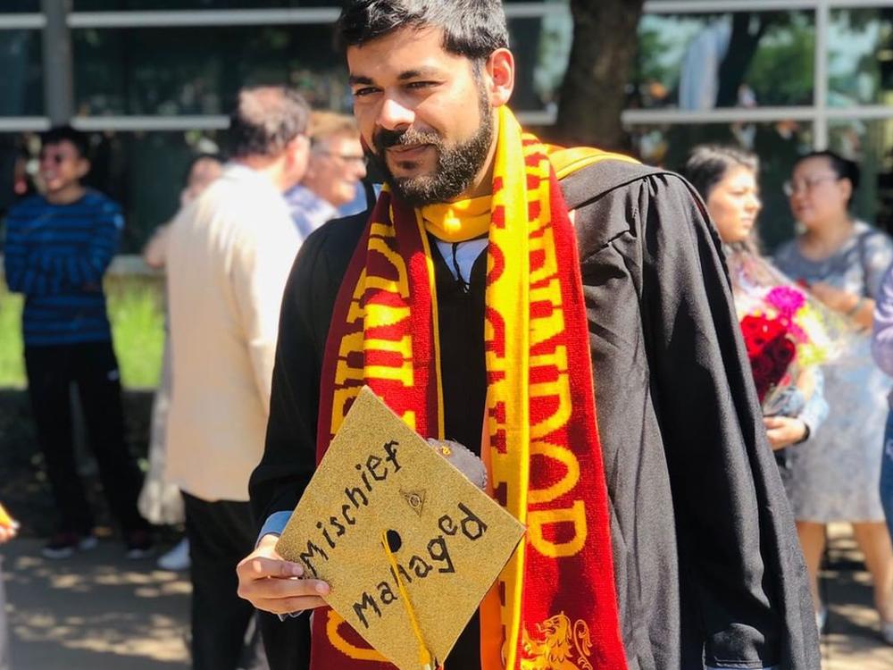 Graduation cap that reads mischief managed