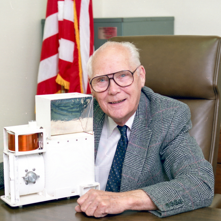 Man with space instrument