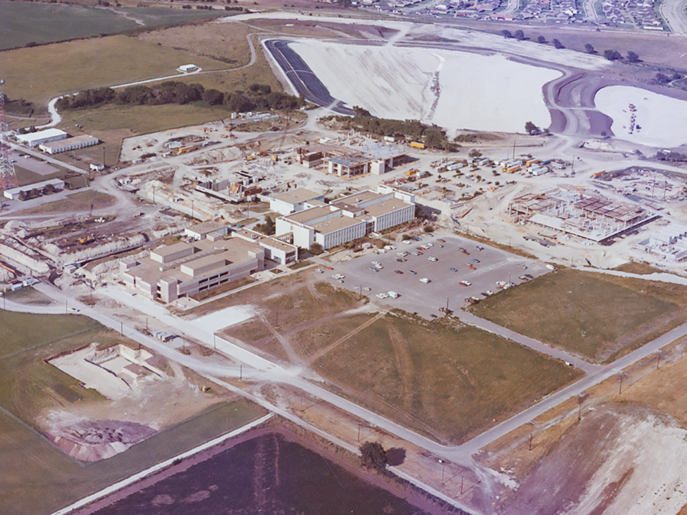 Aerial photo of campus construction in the mid-1970s