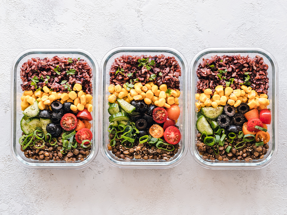 Food in matching containers