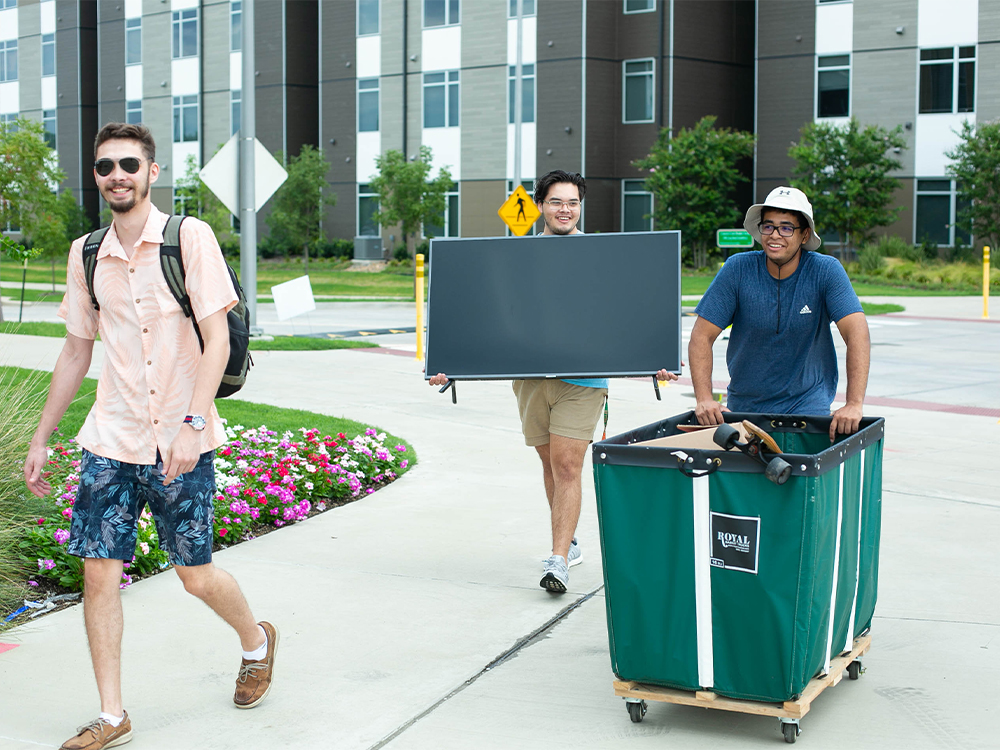 Male students walking along side walk with various items