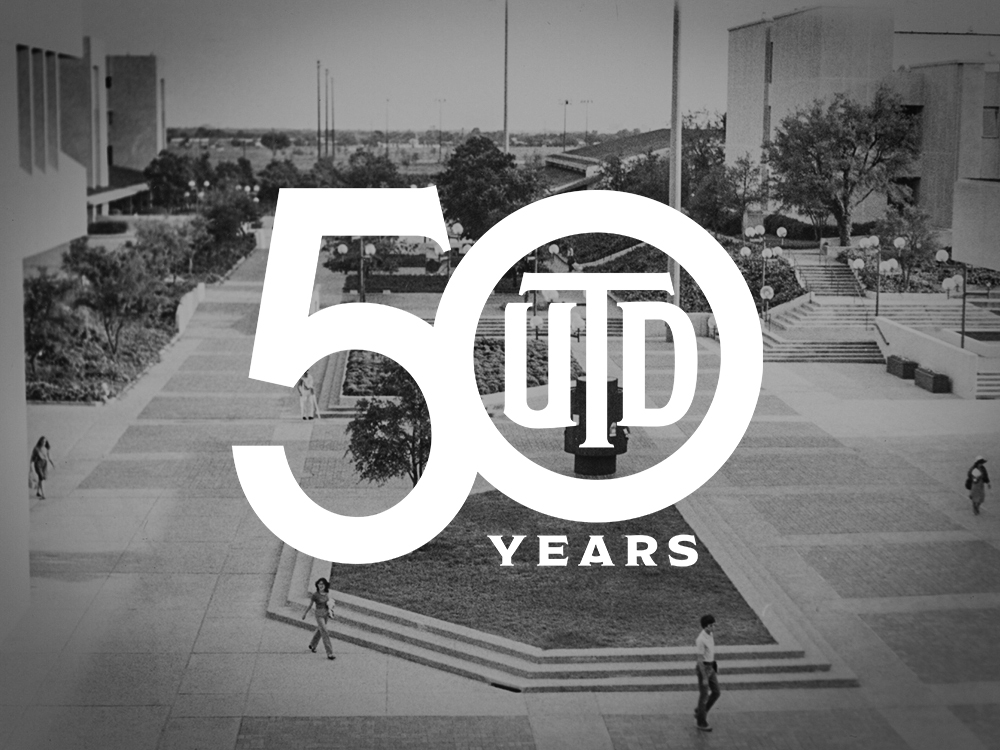 The UT Dallas 50th anniversary logo placed on top of an archive image of the north mall