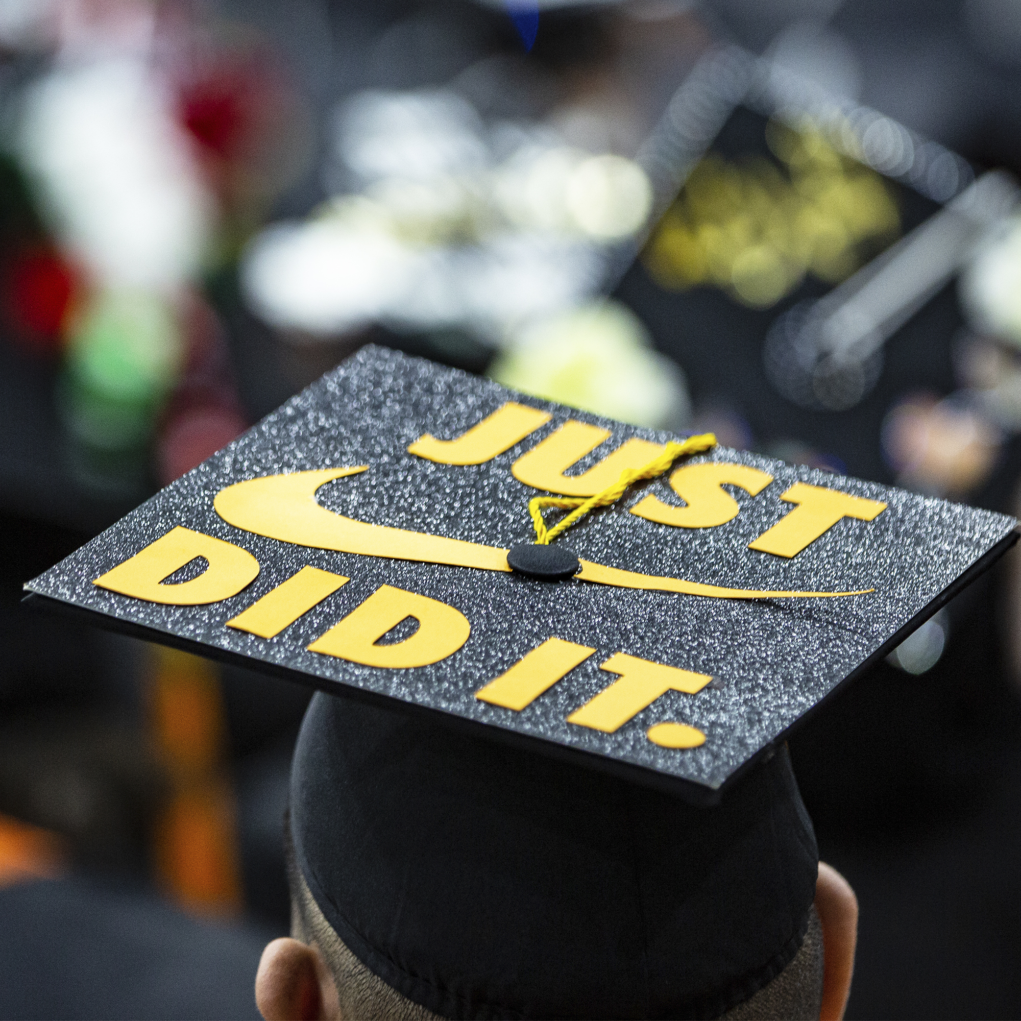 Man wearing cap that says just did it