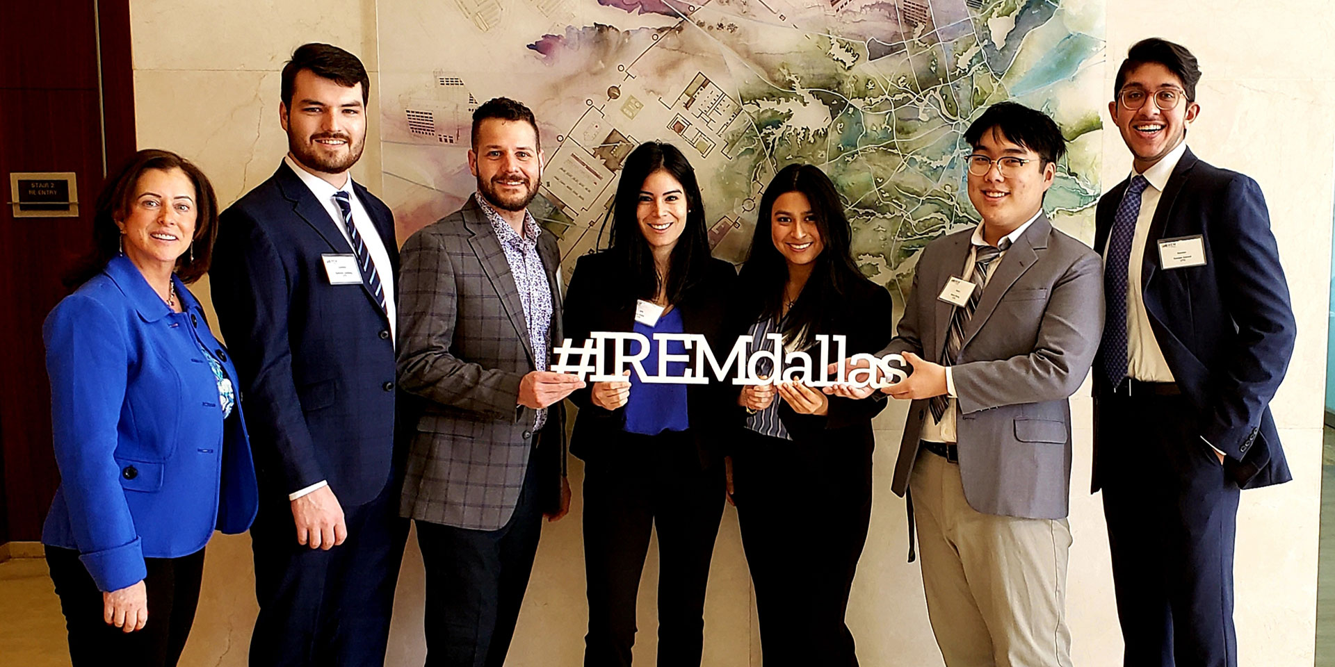Professor Julie Lynch, Cameron Lundberg, Jacob Sandler, Isis Vidal, Gabriela Hernandez, Henry Zang and Sameer Ahmed won the IREM  2020 Case Competition Real Estate Concentrations.