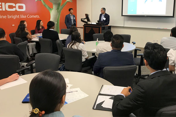 bachelor's in finance students attend a professional event hosted by Citigroup at the Jindal School