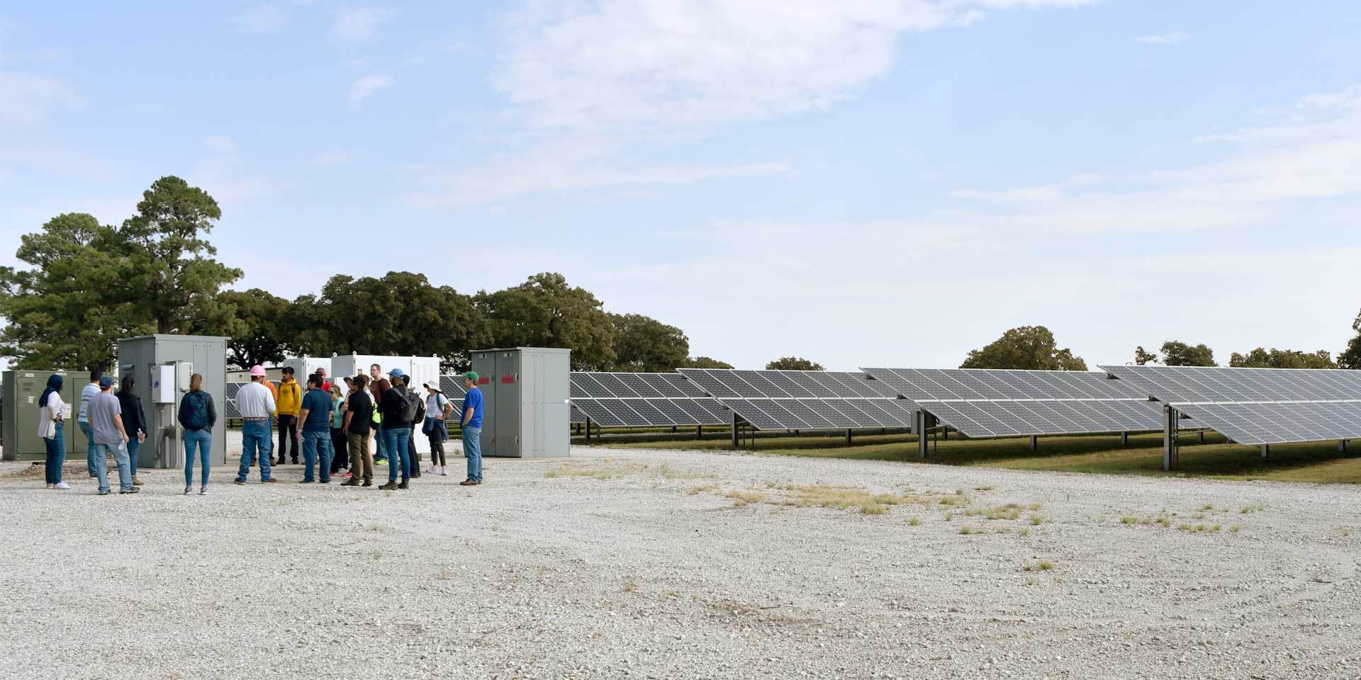 Master's in Energy Management students on a site visit to a solar installation