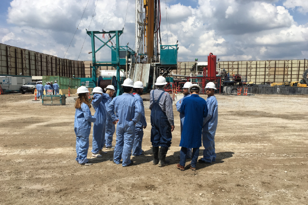 energy management students and faculty on a site visit