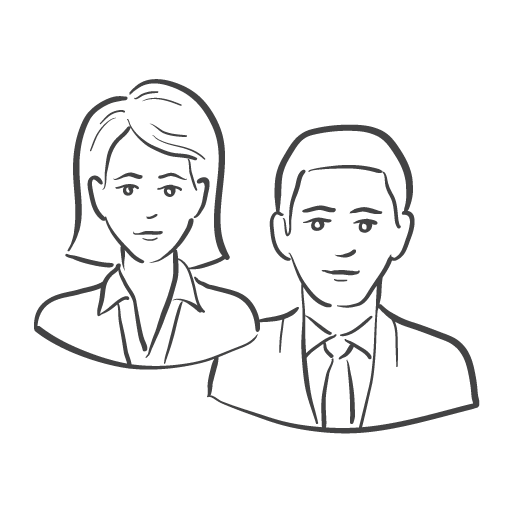 business woman and man icon