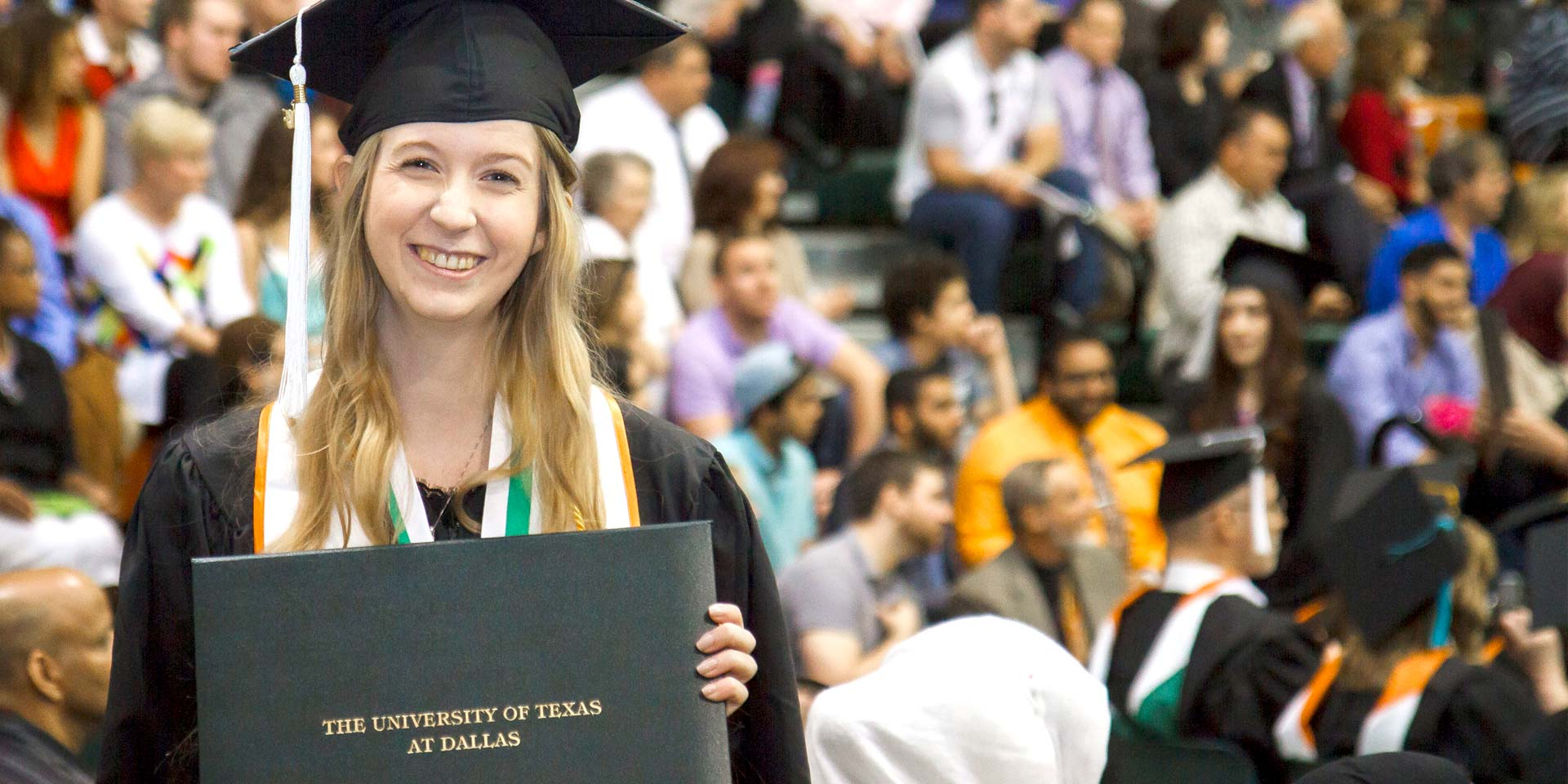 Jindal School bachelor's in human resource management gradaute on UT Dallas commencement day