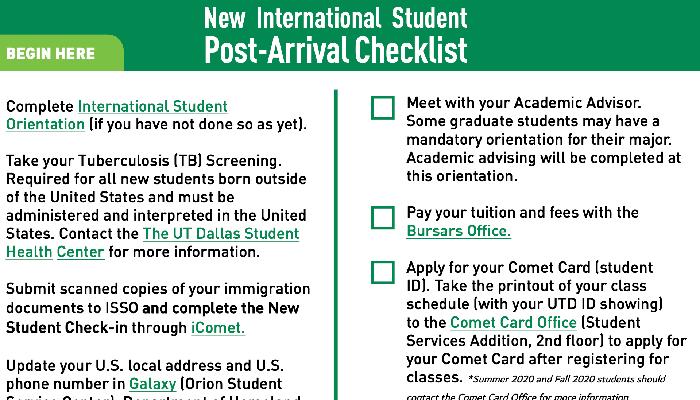 Post Arrival Checklist